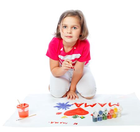 little girl draws heart Stock Photo