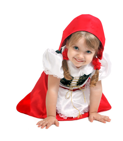 portrait of a little girl dressed as Little Red Riding Hood, carnival, holiday, celebration
