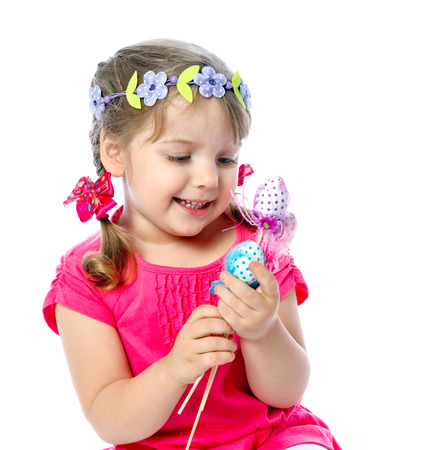 portrait of a little girl holding Easter eggs, holiday, Easter Stock Photo