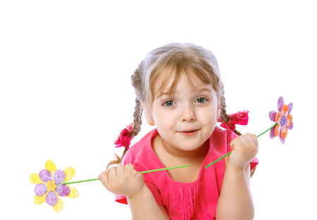 portrait of a little girl holding a flower, on a white background, holiday, spring