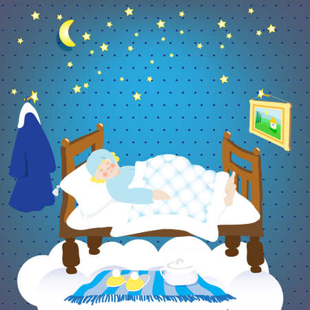 dark elf: sleep.starry sky. sleeping leprechaun. Illustration