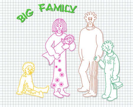 three children: stylized image of big family. father, mother and three children