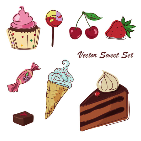 Vector set of sweets with ice cream, cake and cupcake