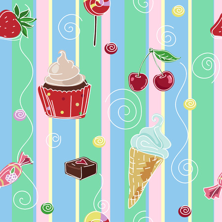 Seamless striped texture with ice cream, candy and cupcake