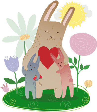 Gentle illustration with the hare family, mother and children hugging bunnies, meadow with flowers and hearts