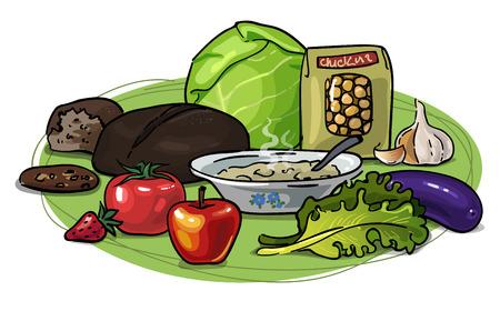 Vector Disegno A Mano Con Utile Cibo Sano Vegetariano. Verdure ...