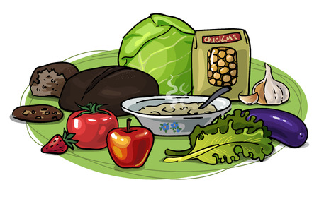 Vector drawing hand with useful healthy vegetarian food. vegetables, fruits and grains