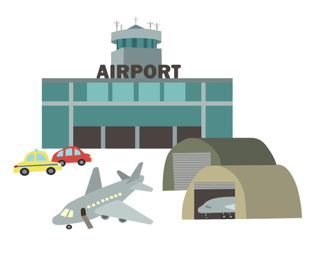 Airport airplanes with a flat vector drawing in the style of children