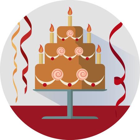Birthday cake illustration in circle