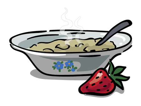 Plate with homemade hot porridge and strawberries for breakfast Çizim
