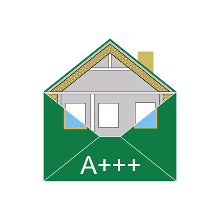 insulation: House Eco Green Building Envelope Energy Efficiency Weatherization Construction standards home insulation Thermal Environmentally friendly and save money and energy class A symbolic logo vector