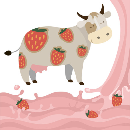 Berry Fruit Milk Cow Splash vector illustration cartoon Dairy products with strawberries Elements isolated on a white background Çizim