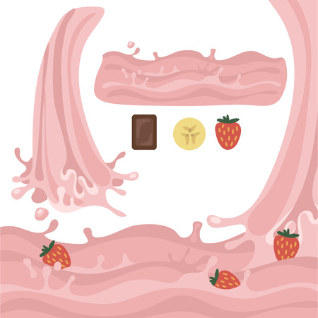 Milk splash design elements vector illustration stylized cartoon isolated on a white background with the flow of waves and pour strawberry pink