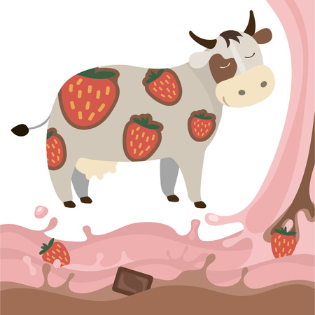 Berry Fruit Milk Cow Splash vector illustration cartoon Dairy products with strawberries and chocolate Elements isolated on a white background