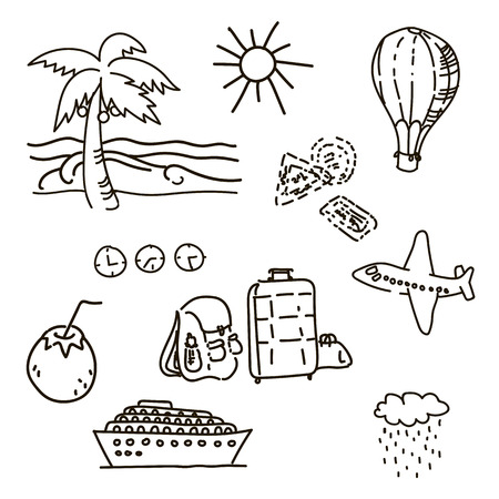 Outline drawings by hand in travel sketch vector palm trees sun luggage ship balloon coconut