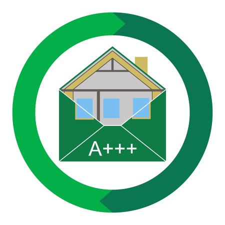 bioedilizia: Casa Eco Green Building Envelope Energy Efficiency Weatherization Norme di costruzione di isolamento a casa denaro ed energia termica classe Ecologico e salva vettore simbolica Vettoriali