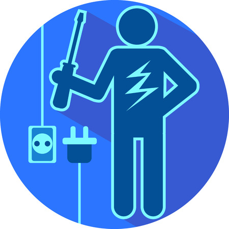 Electric blue stick figure of a man electrician with screwdriver and lightning flat symbolic round icon vector illustration