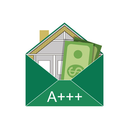 szigetelés: House Eco Green Building boríték Energiahatékonysági Weatherization Építőipari szabványok otthoni szigetelés Thermal Környezetbarát és pénzt takarít meg, és energiaosztályú szimbolikus logo vektor Illusztráció