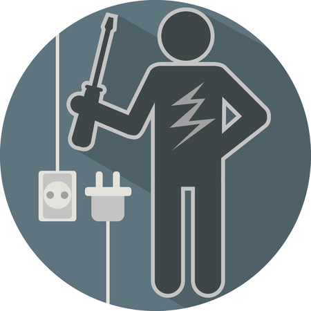 electric utility: stick figure of a man electrician with screwdriver and lightning flat symbolic round icon in blue tones vector illustration
