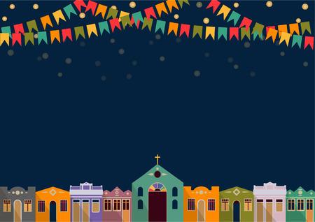 브라질 밝은 밤의 라틴 아메리카 휴가 유월 파티 식민지 시대의 주택, 교회, 빛과 색 플래그 배경 일러스트