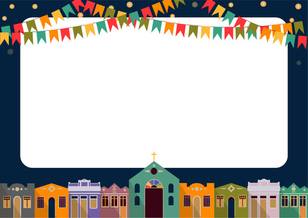colonial: Latin American holiday the June party of Brazil bright night the background with colonial houses church lights and colored flags and place for the recording form