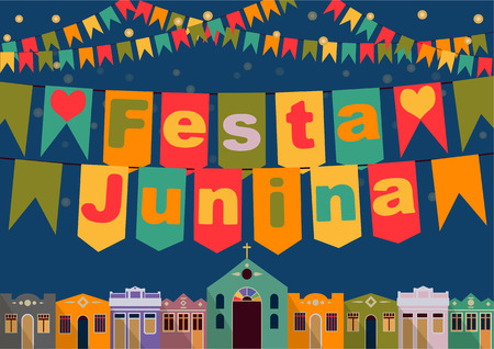 june: Latin American holiday the June party of Brazil bright night the background with colonial houses church lights and colored flags and the inscription in Portuguese Festa Junina