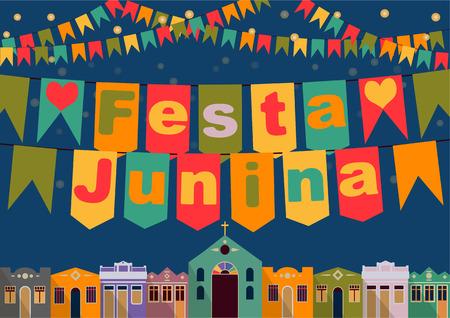 the church: Vacaciones latinoamericano partido junio de Brasil noche brillante el fondo con casas coloniales luces de la iglesia y las banderas de colores y la inscripción en portugués Festa Junina