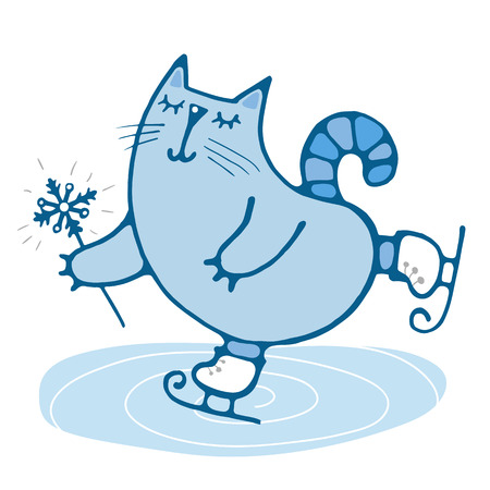 Cute cat drawn skating on ice winter simple drawing for embroidery, applique, or element of design