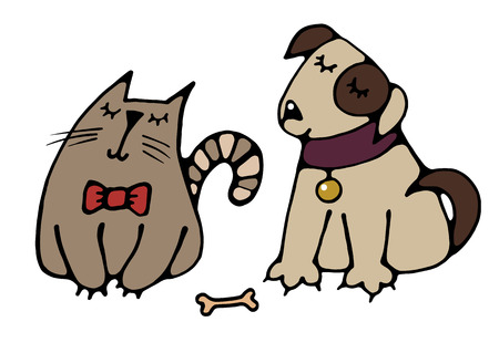 Cute friends cat and dog drawn a simple picture for embroidery, applique, or element of design