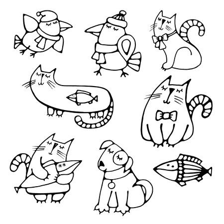 cuervo: Conjunto de lindo bastante volumen animales dibujados a mano sencilla contorno so�ando gatos con pescado Vectores