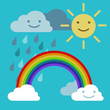 Arc rainbow Sun and rain cloud funny smiling Çizim