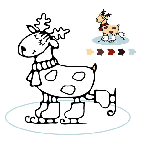 for example: Happy cute winter skating reindeer coloring book for toddlers with a simple contour and color example Illustration