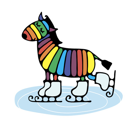 Bright cheerful stylized zebra skate on the ice to draw a simple pattern for embroidery, applique, or element of design