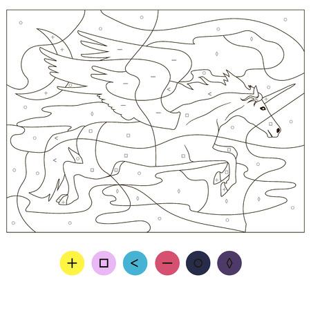 Beautiful Educational coloring puzzle with flying unicorn pegasus for girls preschool children Çizim