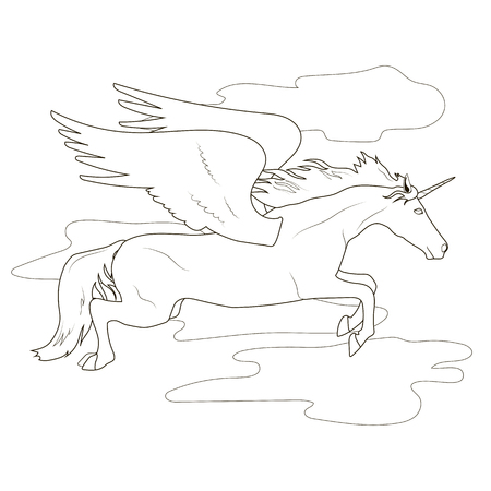 kindergartner: Coloring flying in the clouds the fabulous unicorn pegasus Illustration