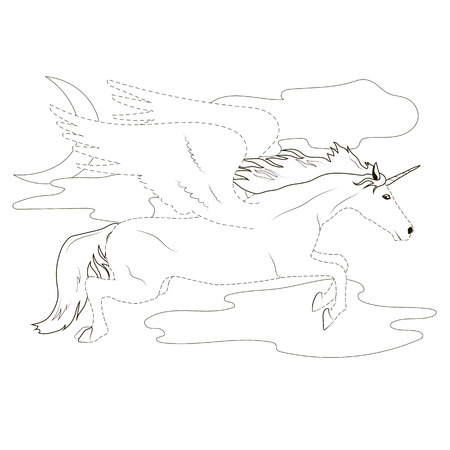 Coloring by the dotted line fabulous flying Pegasus Unicorn an educational for preschool girls Çizim