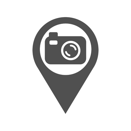 Pin city navigation camera, a simple sign of the silhouette for photographing locations vector flat icon