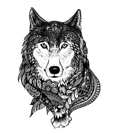 Abstract hand-drawing with elements of ornaments wolf graphic pen, boho. Çizim