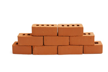 horisontal: brick wall is partially white background horisontal