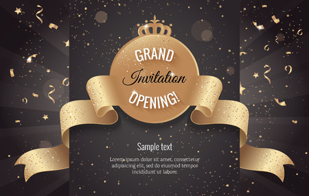 Grand opening horizontal banner. Text with confetti and curving ribbon. Gold sparkles.  Elegant style. Vector Illustration