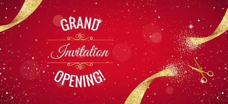 Grand opening horizontal banner. Text with  confetti, golden splashes  and ribbons.Gold sparkles.  Elegant style. Vector Illustration