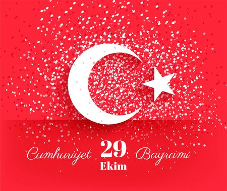 29 ekim Cumhuriyet Bayrami, Republic Day Turkey. 29 october Republic Day Turkey and the National Day in Turkey. Celebration background with turkish flag and confetti. Ilustração