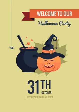 magic cauldron: Halloween party invitation in cartoon style. Funny halloween card with pumpkin and magic cauldron.