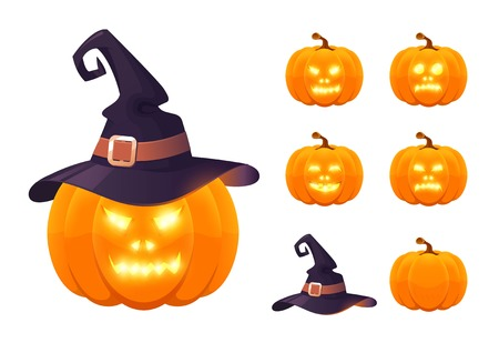 Set of pumpkins for Halloween. Halloween pumpkin with witch hat and scary eyes.