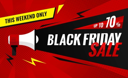 Black Friday sale banner.Sale poster with geometric shapes and megaphone.