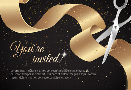 You are invited invitation card with curving ribbon and sparkling background.