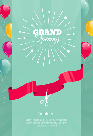 Grand opening vertical banner. Text with  firework, balloons and ribbons. Flat style.