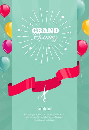Grote opening verticale banner. Tekst met vuurwerk, ballonnen en linten. Platte stijl. Stock Illustratie