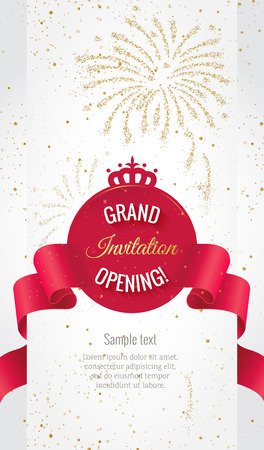 Grand opening vertical banner. Text with  firework and curving ribbon. Gold sparkles.  Elegant style. Ilustração