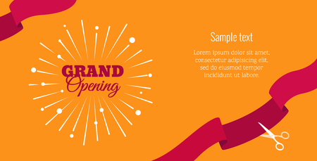 Grand opening horizontal banner. Text with firework and ribbons. Flat style.